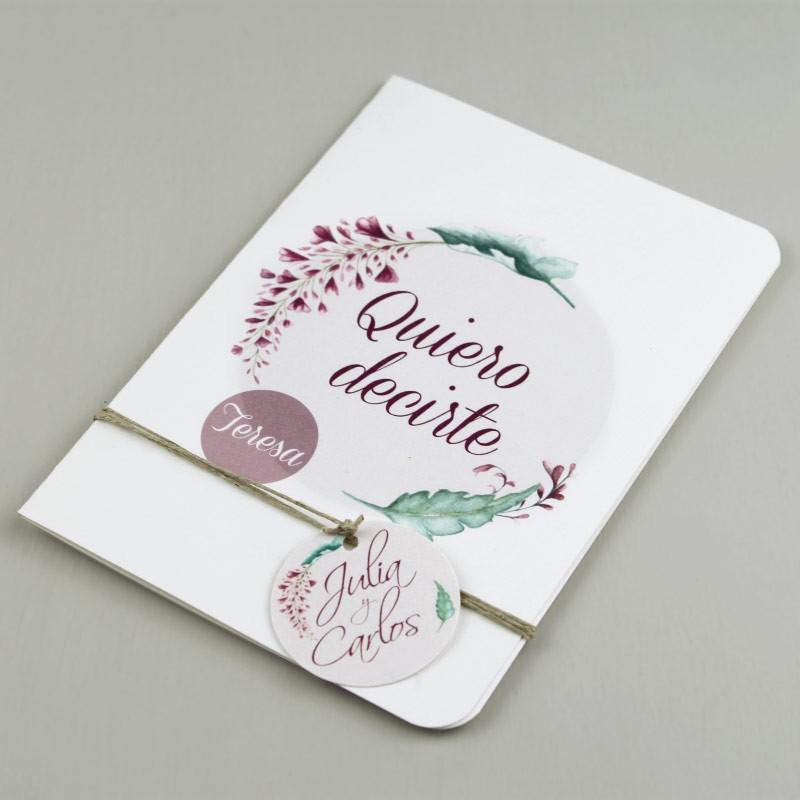 tarjeta de boda para mensaje a un invitado especial modelo Viana
