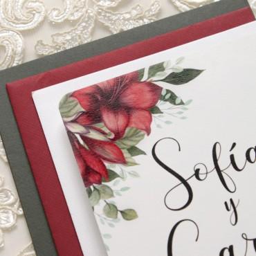 detalle invitaciones para bodas navideñas y bodas andaluzas. invitacion con colores rojos modelo borgona