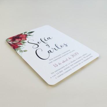 invitaciones para bodas navideñas y bodas andaluzas. invitacion con colores rojos modelo borgona