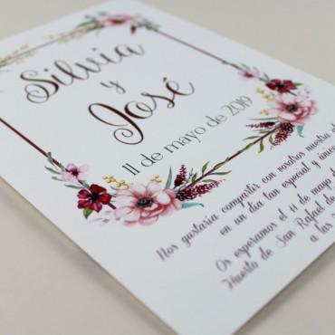 invitaciones para bodas romanticas. Invitacion de flores de acuarela Modelo Verona