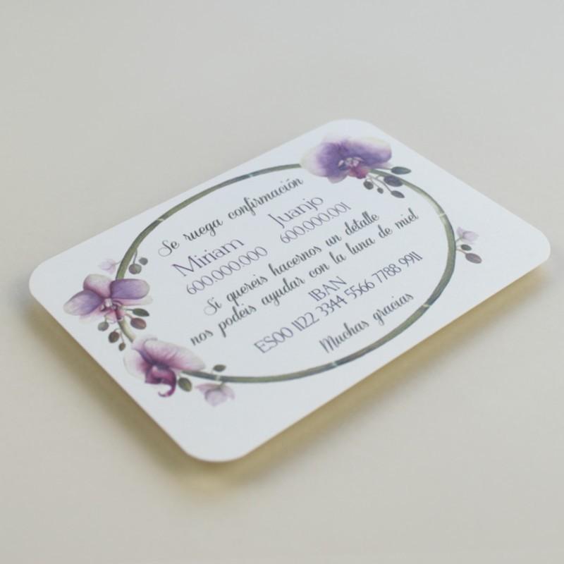 tarjeta informativa para invitación Bali. tarjeta con el numero de cuenta. lista de boda