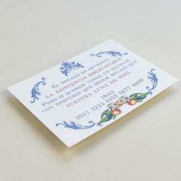 tarjeta informativa para invitación Valencia. tarjeta con el numero de cuenta. lista de boda