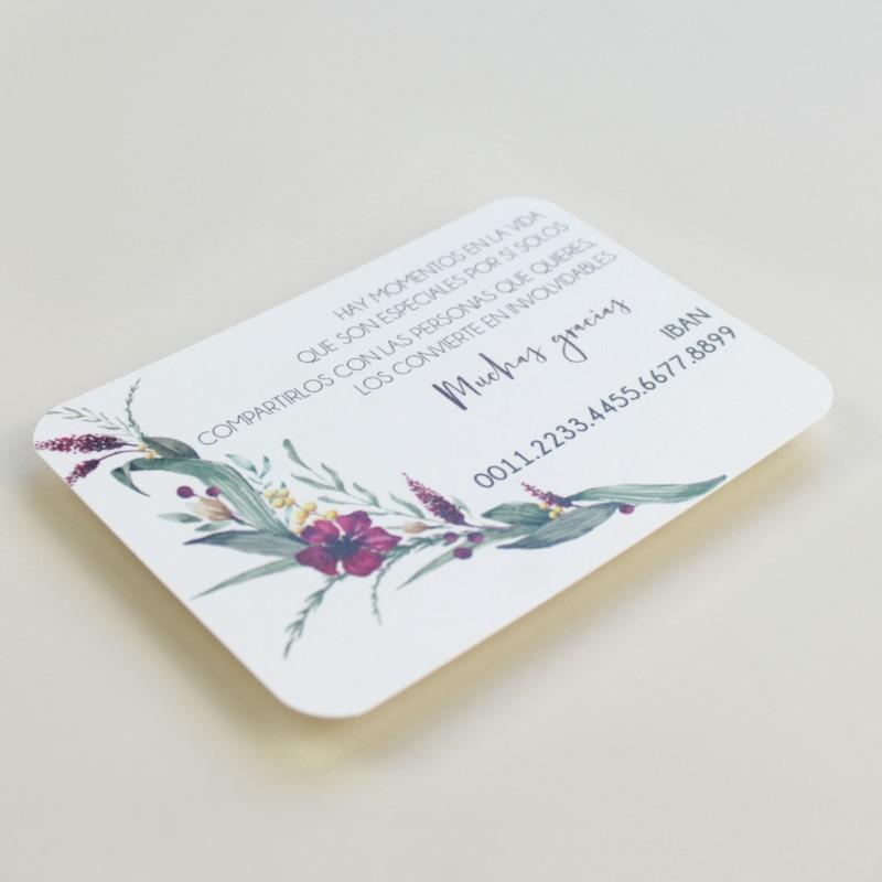 tarjeta informativa para invitación Niza. tarjeta con el numero de cuenta. lista de boda