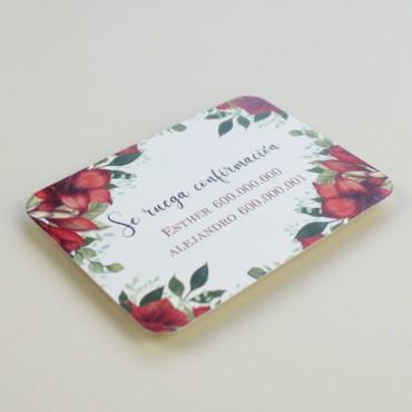 tarjeta informativa para invitacion de boda. lista de boda. tarjeta numero de cuenta modelo borgona