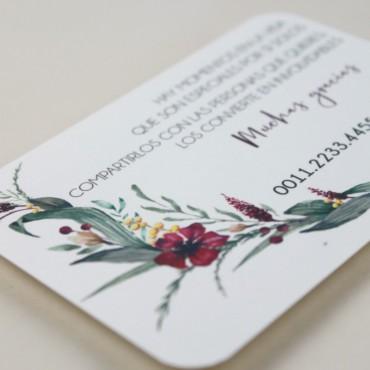 tarjeta informativa para invitacion. lista de boda. tarjeta numero de cuenta mod. niza
