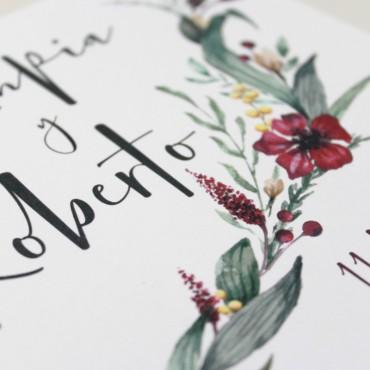 invitacion de boda cuadrada. invitacion original para bodas silvestres. invitacion con flores Modelo Niza
