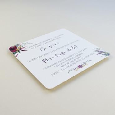 cara B invitacion de boda cuadrada. invitacion original para bodas silvestres. invitacion con flores Modelo Niza
