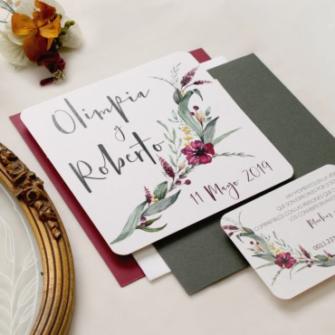 decoracion invitacion de boda cuadrada. invitacion original para bodas silvestres. invitacion con flores Modelo Niza
