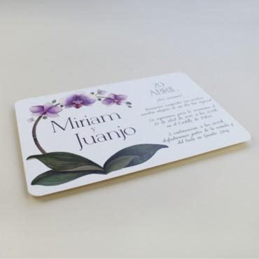 invitacion de boda original. invitacion con flores de acuarela de orquideas. invitacion horizontal modelo Bali