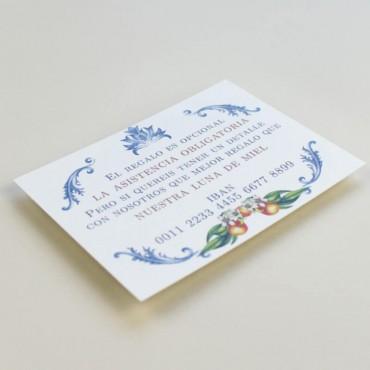 tarjeta informativa para invitacion de boda. Lista de boda. Tarjeta numero de cuenta. mapa para invitacion mod valencia