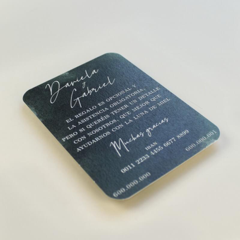 tarjeta informativa para invitacion. lista de boda. tarjeta numero de cuenta mod. Valparaiso