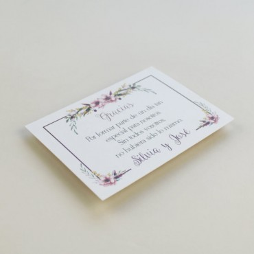 tarjeta de agradecimiento para bodas. Gracias por venir para bodas. Modelo Verona