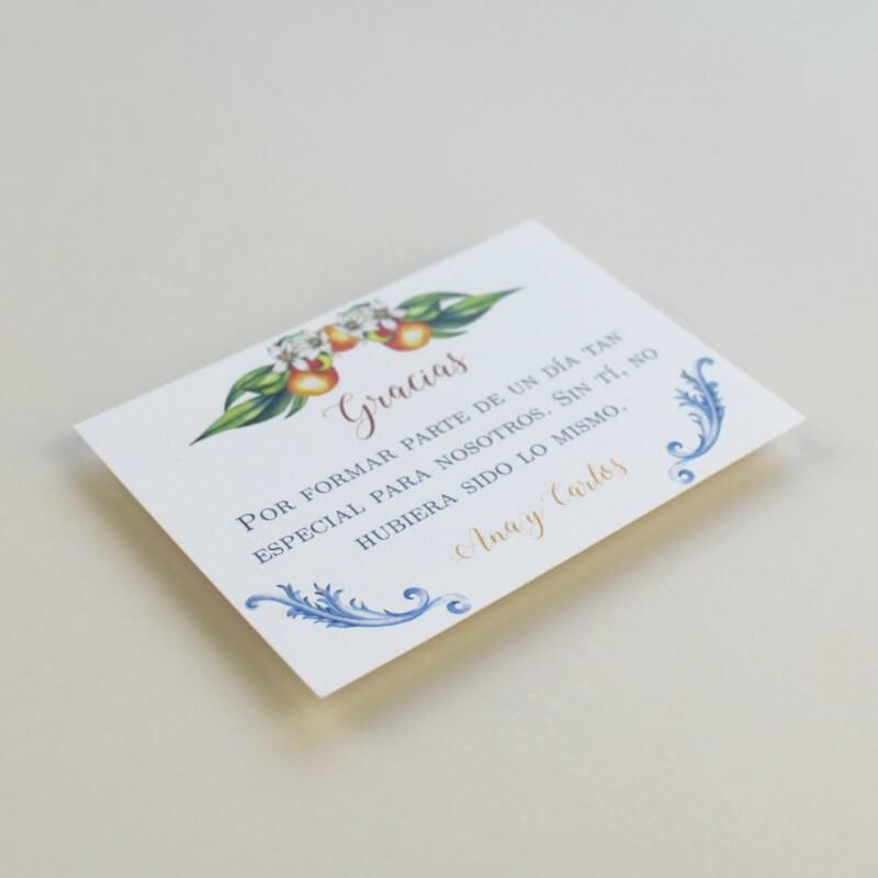 tarjeta de agradecimiento para bodas. Gracias por venir para bodas. Modelo Valencia
