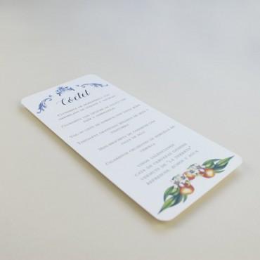 Minuta de boda a juego con la papelería de boda. Papeleria de banquete. Minuta de coctel para restaurante. mod valencia