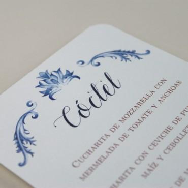 detalle Minuta de boda a juego con la papelería de boda. Papeleria de banquete. Minuta de coctel para restaurante. mod valencia