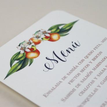 Minuta de boda a juego con la papelería de boda. Papeleria de banquete. Minuta de menu para restaurante. mod valencia