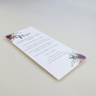 Minuta de boda a juego con la papelería de boda. Papeleria de banquete. Minuta de menu para restaurante. mod niza
