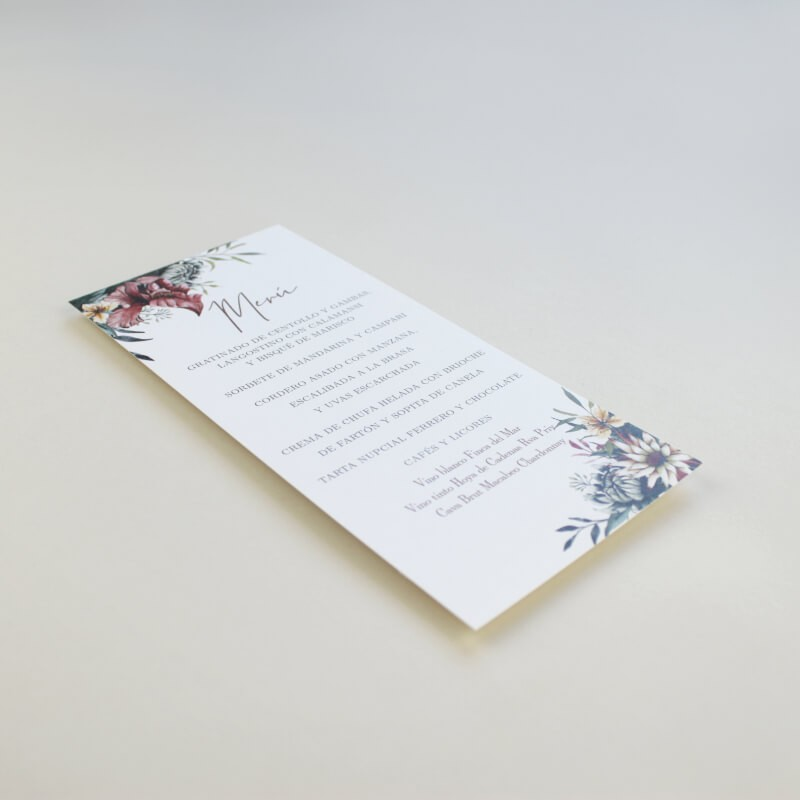 Minuta de boda a juego con la papelería de boda. Papeleria de banquete. Minuta de menu para restaurante. mod valparaiso