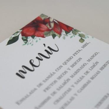 detalle Minuta de boda a juego con la papelería de boda. Papeleria de banquete. Minuta de menú para restaurante modelo borgona
