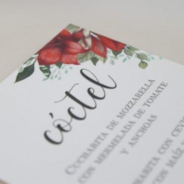 detalle Minuta de boda a juego con la papelería de boda. Papeleria de banquete. Minuta de coctel para restaurante modelo borgona