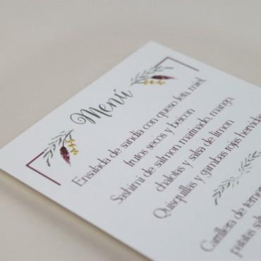 Minuta de boda a juego con la papelería de boda. Papeleria de banquete. Minuta para menu modelo verona
