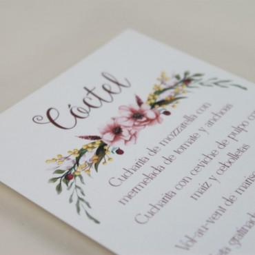 detalle minuta de boda a juego con la papelería de boda. Papeleria de banquete. Minuta de coctel modelo verona