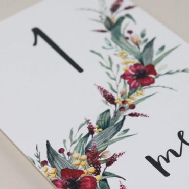 número de mesa para bodas. mesero modelo niza