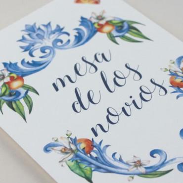 número de mesa para bodas. mesero modelo valencia
