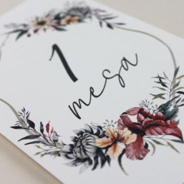 detalle número de mesa para bodas. mesero modelo valparaiso