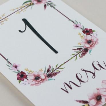 detalle número de mesa para bodas. mesero modelo verona