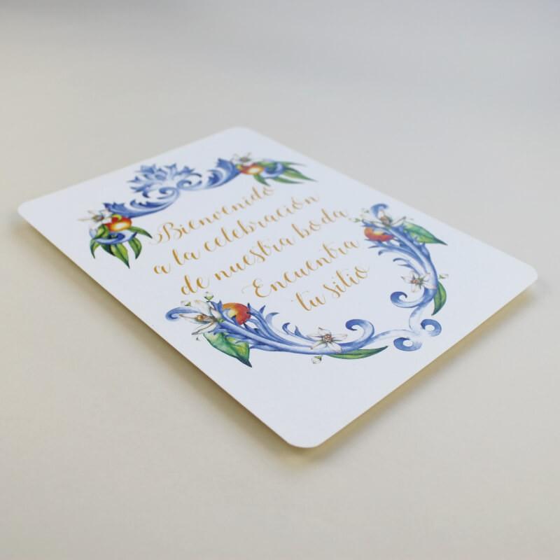Cartel de Bienvenida para bodas. Bienvenido a nuestra boda. Cartel mesa dulce Valencia. Cartel de eventos Valencia