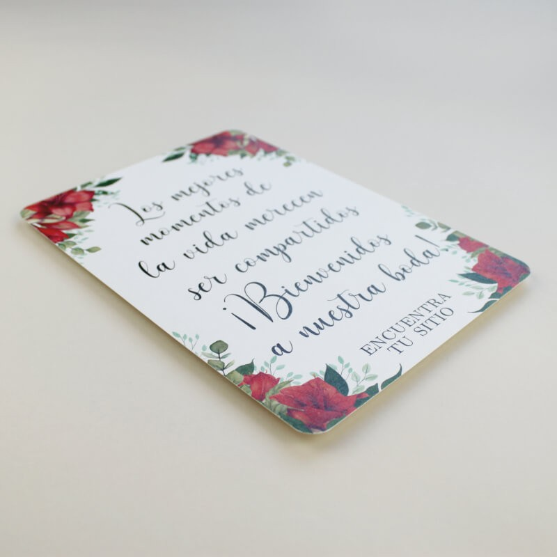 Cartel de Bienvenida para bodas. Bienvenido a nuestra boda. Cartel mesa dulce Borgona. Cartel de eventos