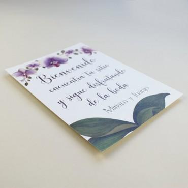 Cartel de Bienvenida para bodas. Bienvenido a nuestra boda. Cartel mesa dulce Bali. Cartel de eventos