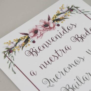 detalle Cartel de Bienvenida para bodas. Bienvenido a nuestra boda. Cartel mesa dulce Verona