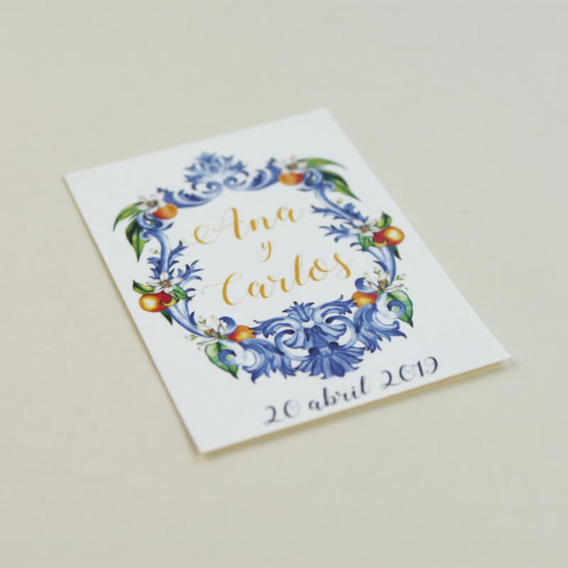 Etiquetas para detalles de boda Valencia. Etiquetas para detalle con naranjas de acuarela