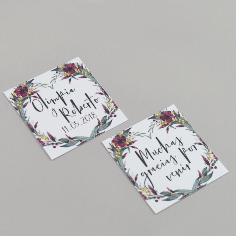 Etiquetas para detalles de boda Niza. Etiquetas para detalle con flores de acuarela