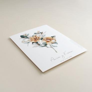 Invitación de boda original. Invitación con flores de acuerala. Invitación con veladura de papel vegetal Alej. II