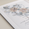 Veladura de papel vegetal para invitación de boda con logotipo floral a una tinta. Modelo Alejandría II
