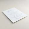 Invitación de boda con logotipo floral a una tinta. Modelo Alejandría V