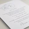 detalle Invitación de boda con logotipo floral a una tinta. Modelo Alejandría V