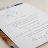 detalle Invitación de boda original. Mod Alejandría VI con veladura de papel vegetal