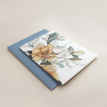 Envoltura de invitación con papel vegetal. Veladura de papel vegetal para invitación de boda Alej VI. Sobre azul RAF