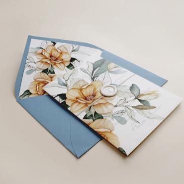 Envoltura de invitación con papel vegetal. Veladura de papel vegetal para invitación de boda Alej VI. Sobre forrado azul RAF