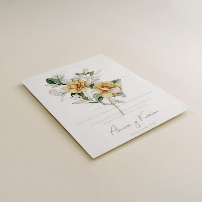Invitación de boda con flores de acuarela. Invitacion con papel vegetal. Veladura de papel vegetal. Mod Alej V