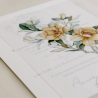 detalle Invitación de boda con flores de acuarela. Invitacion con papel vegetal. Veladura de papel vegetal. Mod Alej V