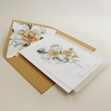 Invitación de boda con flores de acuarela. Invitacion papel vegetal. Veladura papel vegetal. Sobre forrado invitación. Alej V