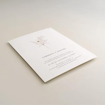 Invitación de boda con diseño floral a una tinta. invitación de boda original color teja. Mod Praga