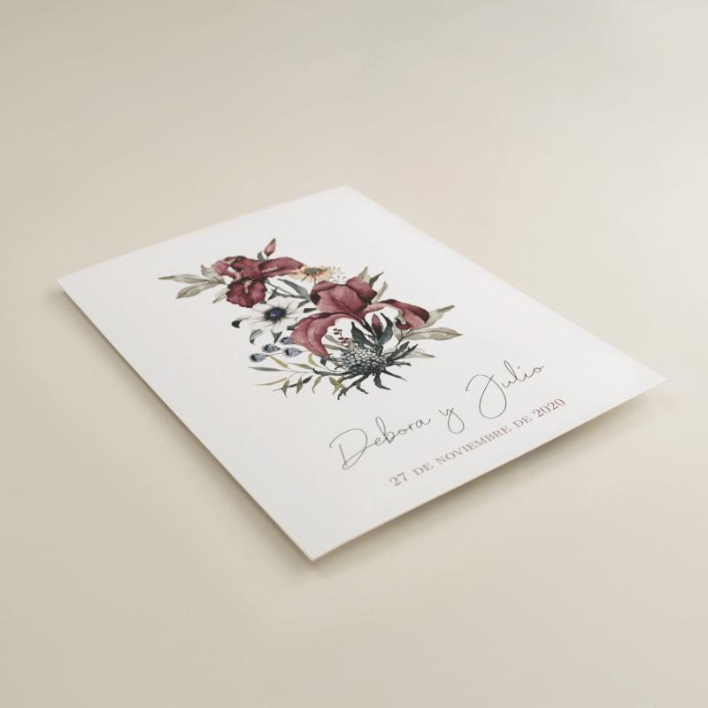 invitacion de boda original. invitacion con flores de acuarela. Modelo Lombardía I