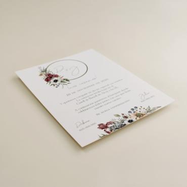 invitacion de boda original. invitacion con logotipo de flores. Modelo Lombardía I