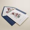 invitacion de boda. Invitación azul klein. invitacion con flores de acuarela. sobre forrado azul klein. Mod Lom I